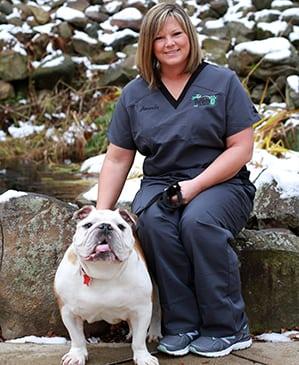 Amanda with white bulldog: Animal Hospital in Rennselaer